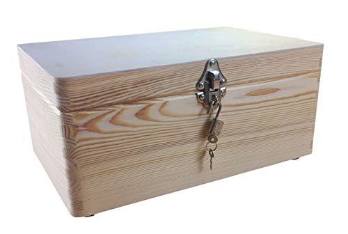 MidaCreativ abschließbare Aufbewahrungsbox/Holzkiste Gr. 1 Kiefer unbehandelt (Schloss 2)