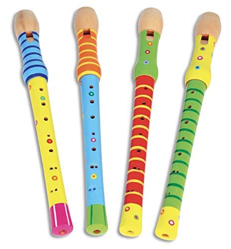 Bontempi–313010–Musikinstrument–Flöte Sopran Holz barocke Griffweise, zufällige Farbauswahl