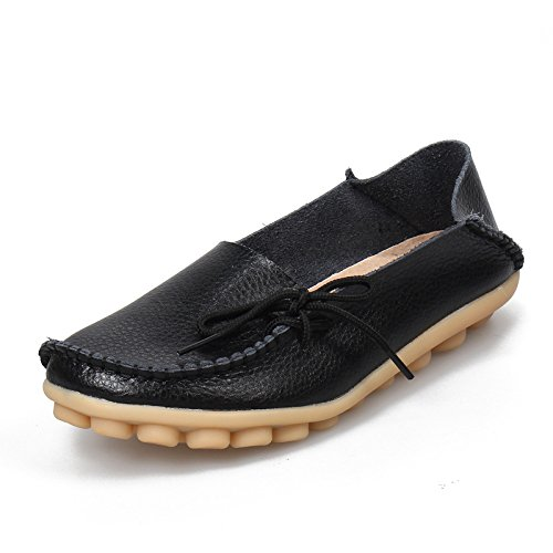 Gloria JR Damen Mokassin Stiefel Schuh Leder Loafers Schuhe Flache Schuhe Hausschuhe Black(Schwarz)