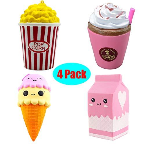 Squeeze Toys Stress Spielzeuge Cartoon Cake duftet Squeeze Slow Rising Kinder Party Geschenke Anti Stress Spielzeug für (4PC)