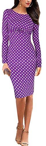 SunIfSnow Damen Schlauch Kleid, Gepunktet Gr. XL, violett (Sweetheart Kleider Satin Strapless)
