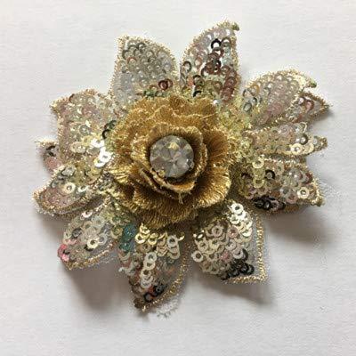 Pinkdose® Handgemachte DIY 3D Strass Helle Kleine Blumen NäHen auf Bestickten Tuch Patch für Kleidung Hochzeitskleid Zubehör: Silber