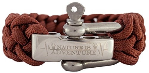 Nature is Adventure® Paracord Survival Armband inkl. Ebook - verstellbarer Edelstahlverschluss - Ideales Outdoor, Backpacking & Überlebens-Zubehör