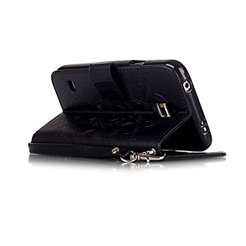 TOCASO Funda de Cuero Samsung Galaxy S5 Funda Piel para con Tapa Samsung Galaxy S5 [Garantía de por vida] Soporte Plegable Ranuras para Tarjetas y Billetes Estilo Libro Cierre Magnético Impresión de Flor Impresión de Amor PU Premium y TPU Funda Interna Mariposa Bear Animal--Negro