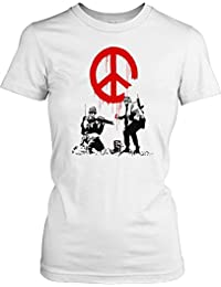 Banksy - Soldiers Painting Peace - Urban Art Ladies T Shirt - Funny