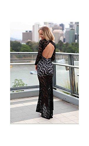 Mela Proibita - Vestito donna pizzo abito lungo maniche lunghe scollo V profondo trasparente hot Nero