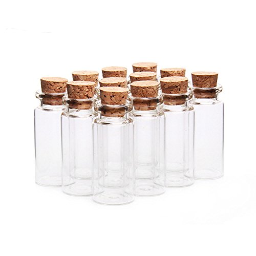 knowing 10 Stücke Mini Glasfläschchen mit Korkverschluss,10ml Leere Probe Glasflasche Gläser,Mini Fläschchen mit Korken,22mmx50mm