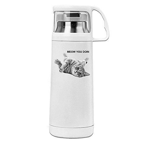 Handson Edelstahl Vakuum Isoliert Tumbler Meow You Doin Cat Isolierte Vakuum Cup Weiß 14oz/350ml
