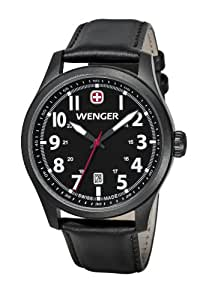 Wenger Terragraph Men's Quartz Watch with Black Dial Analogue Display and Black Leather Strap 010541101