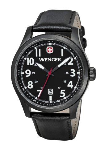 Wenger - 010541101 - Montre Homme - Quartz Analogique - Bracelet Cuir Noir