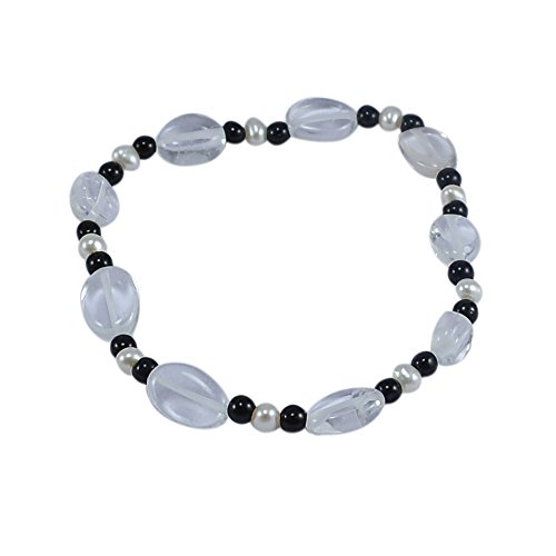 Silvesto India Black Onyx, Crystal Quartz & Pearl Gemstone Adjustable Bracelet PG-127762