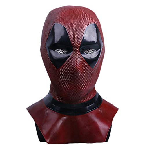 Repliken Kostüm - Yujingc Deadpool Maske Kopfbedeckung Männer Kostüm Halloween Film DP Cosplay Kostüm Replik Maske Kopf für Thema Party Requisiten Horror Bösewicht,Latex,56cm