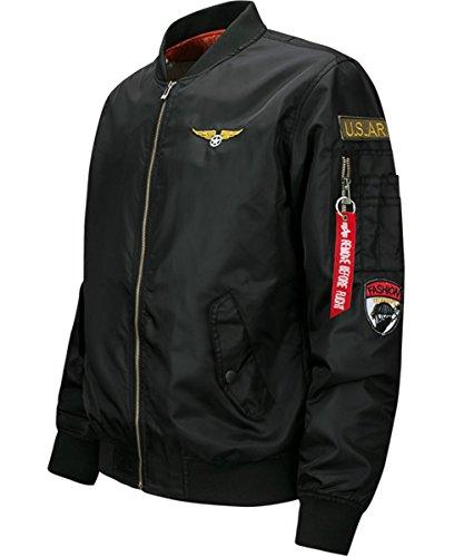 YYZYY Homme Classique Style rétro patches Flight Jacket Veste Bomber Pilot vol Flying Blousons XS-4XL Navy blue