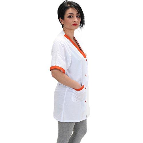 Camici da lavoro donna per maestra asilo supermercati imprese di pulizia domestiche (l, inserti arancioni)