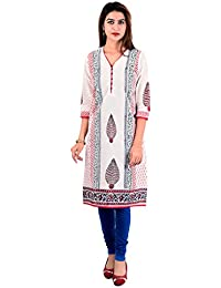 Jaipuri Kurti (Halowishes Block Print Design Pure Cotton White Kurti)