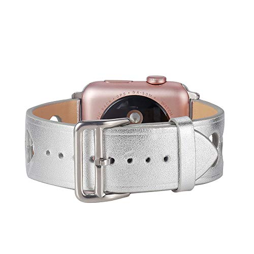 Xbeast Newest!!! Uhrenarmbänder - für Apple iwatch Smart Watch 42mm - Armbandlänge: 170-210mm, Echtes Leder Uhrenarmband - Herzförmiges, Ausgehöhltes Armband Sport Fitness Band, Sport Edition - Gesicht Sehen Blau Leder-band