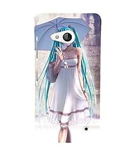 Printvisa Premium Back Cover Sweet Blue Haired Girl Design For Microsoft Lumia 550::Nokia Lumia 550