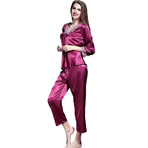 GJX Donna raso seta pigiama Set Pjs seta manica lunga , xl