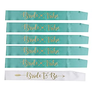 D DOLITY Pieces of 6 Bride Tribe Bride to Be Sash Gold Letters Arrow Heart Hens Party Supplier - Green, 77.5 x 9.5 cm