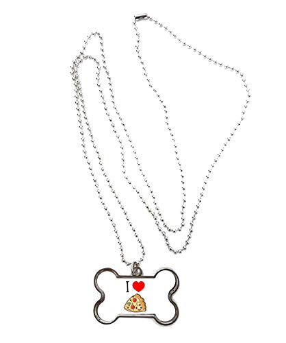 Just Another Tee Cartoon Junk Food - i Love Pizza Chain and Pendant - Dog Bone Shaped Necklace