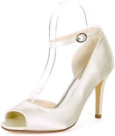 Elobaby Zapatos De Boda De Las Mujeres Peep Toe OtoñO Hebilla Mid High Heels Chunky Bridesmaids Evening/9cm Heel