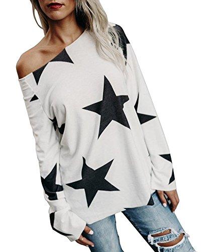 Hauts À Manches Longues Femme Étoile Imprimée Sweatshirt Sans Bretelles Col Rond Pullover Pull Tops Casual Blouse Qualité Économique Blanc
