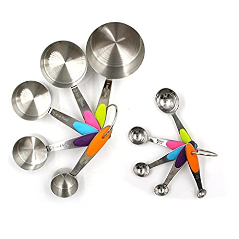 Novata Set of 10 Measuring Cups, Measuring Spoons, Stainless Steel,