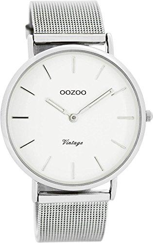 Oozoo Vintage Ultra Slim Metallband 40 MM Silber/Weiss C7724
