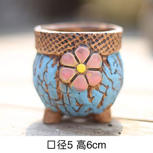 Kleine Bean Pot (LUOSHEN Moderne Pflanzer Vintage Sukkulenten Blumentopf Keramik Hand bemalt Steinzeug Bunte Töpfe, Bohnen Töpfe 3, Kleine 5 * 6 cm)