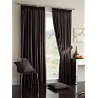 "Chocolate Brown Curtains 45"" x 54"" Pair of Faux Silk Fully Lined Pencil Pleat Ready Made width 45 "" x 54"" drop"