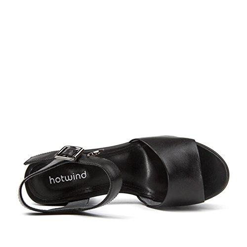 Hot Air Sandali Tacco Grezzo,Una Parola Fibbia Con Solid Color Sandali Donna,Tacchi Alti B