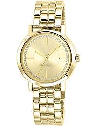 Nine West Dorado para Mujer reloj infantil de cuarzo con esfera analógica y dorado correa de acero inoxidable de NW/1642chgb
