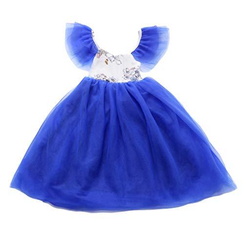 Zylione MäDchen Prinzessin Kleid Kinder Baby Fliegen ÄRmel Blume NäHen Mesh Rock Cosplay KostüM Kleid Ball Party Rock (Blume Prinzessin Samt Kind Kostüm)
