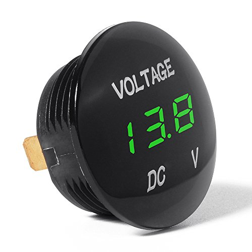 XCSOURCE Universal Digital Anzeige Voltmeter wasserdichte Spannungs Messinstrument grüne LED für DC 12V-24V Auto Motorrad Autolack BI314