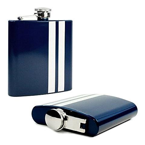 Tuff-Luv Evolve Hip Flask 6oz Steel Blue Stripe [I13_32]