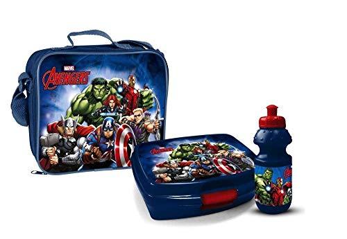 Marvel Avengers Trinkflasche mit Brotbox Set und Kindergartentasche Lunchbox Tasche mit Brotzeitdose Flasche Pausenset Disney Jausen Box für Jungen