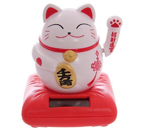 Winkekatze Glücksbringer SOLAR Maneki Neko Feng Shui Katze auf Kissen Glückskatze (weiß) (Feng Shui Katzen)