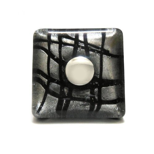 Murano Glas Geblasen (black silver square murano hand blown crystal glass cupboard door knob drawer pull cabinet handle by Pushka Knobs)