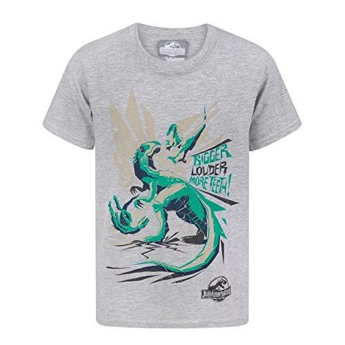 Jurassic World - Camiseta diseño Bigger Teeth para niños (9-11 Años/Gris)
