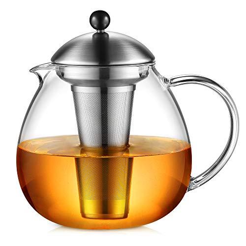 Glastal Glas Teekanne 1500ml mit 18/10 Edelstahl Teesieb Borosilicate Glas Teebereiter auf Stove Glaskanne mit Entfernbar Seib