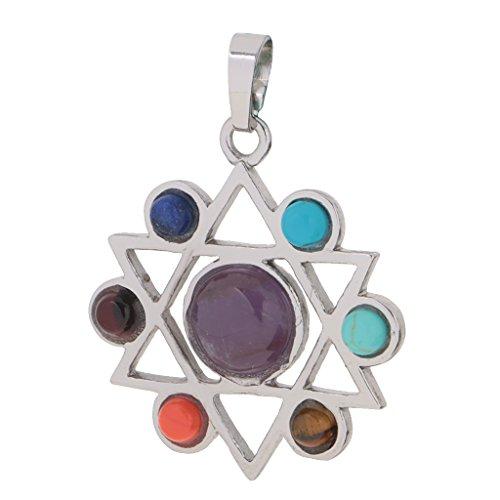 Segolike Star of David 7 Chakras Hollow Hexagram Spritual Necklace Pendant Reiki Gemstone Pendant