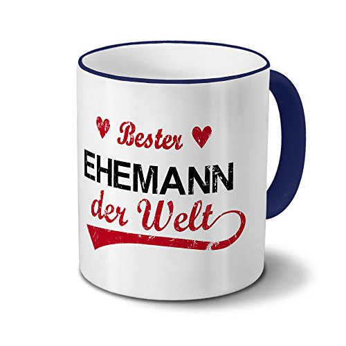Tasse mit Namen Bester Ehemann der Welt - Motiv Textart-Layout 3 - Namenstasse, Kaffeebecher, Mug, Becher, Kaffeetasse - Farbe Blau
