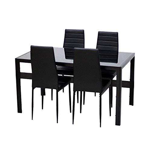 EBS Conjunto de Muebles Juego de Comedor Sillas de Piel Sintética Mesa de Cristal con Patas de Metal - Negro / 4 Sillas y una Mesa