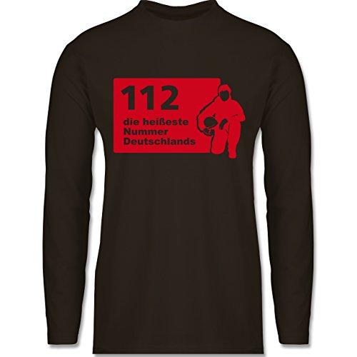 Feuerwehr - 112 die heißeste Nummer der Stadt - Longsleeve / langärmeliges T-Shirt für Herren Braun