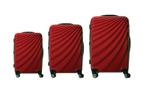 Viviana Trolley Polycarbonat Kofferset TSA Doppelrollen - Farben und Größenvielfalt (3er Set, Rot)