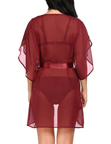 Avidlove Damen Sexy Transparent Kimono Nachtwäsche Nachtmantel Dessous Set mit G String Bikini Cover Up Dunkelrot