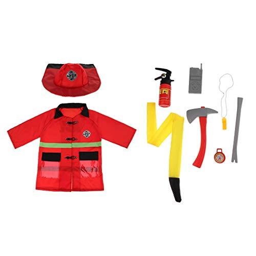 Kostüm Feuerwehrmann Halloween - Homyl Kinder Polizei / Feuerwehrmann Kostüm Cosplay Verkleidung für Fest Karneval Weihnachten Halloween Geburtstag Party - Feuerwehrmann