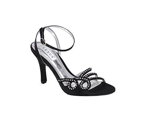Sandales à hauts talons pour femme avec bordure à strass, idéal pour les fêtes, les mariages et fêtes. Noir