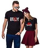 Pärchen Shirts Beast Beauty Partner T-Shirt King Queen Paar Geschenke Tshirt Set Valentinstag Geburtstagsgeschenk (Schwarz, Beast-L + Beauty-S)