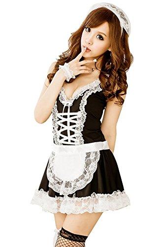 Damen,Sondereu Maid Kleidung Dessous Kostümset Dienstmädchen Erotisch Uniform Stubenmädchen Zimmermädchen Lingerie Babydoll Cosplay Overall Club Wear (Schwarz) (Heiße Clown)